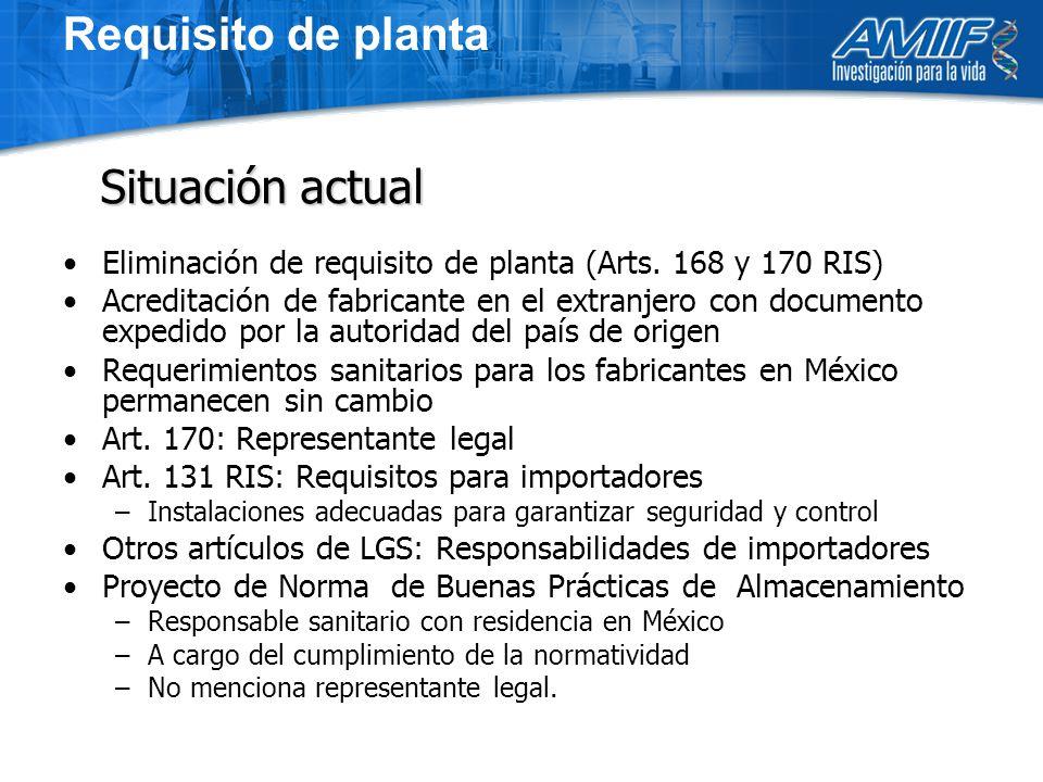 Requisito de planta Eliminación de requisito de planta (Arts.
