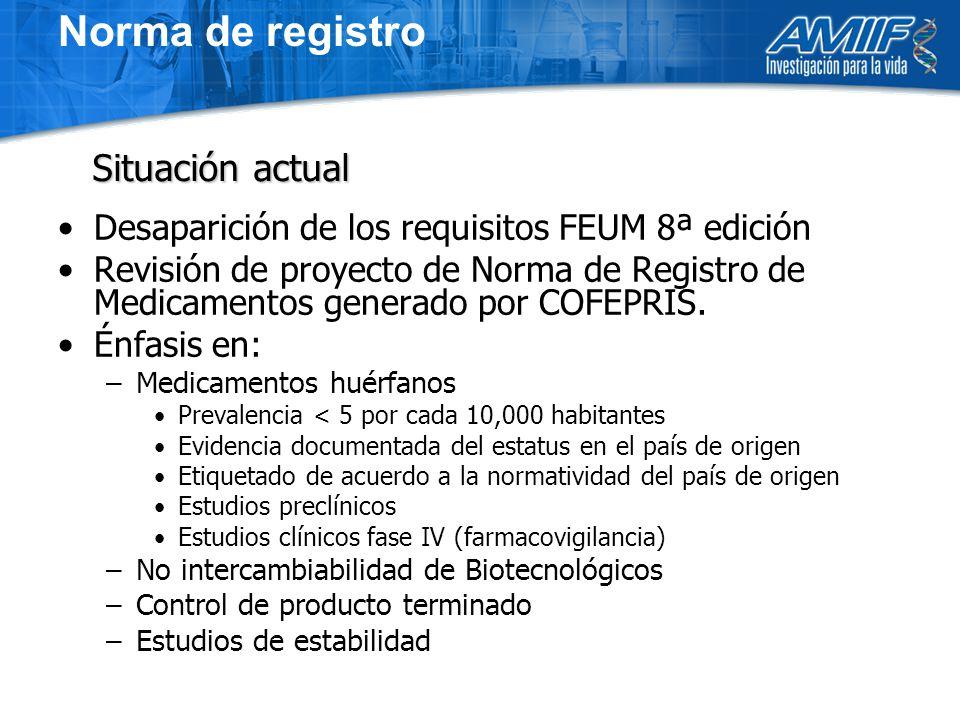 Norma de registro Desaparición de los requisitos FEUM 8ª edición Revisión de proyecto de Norma de Registro de Medicamentos generado por COFEPRIS.