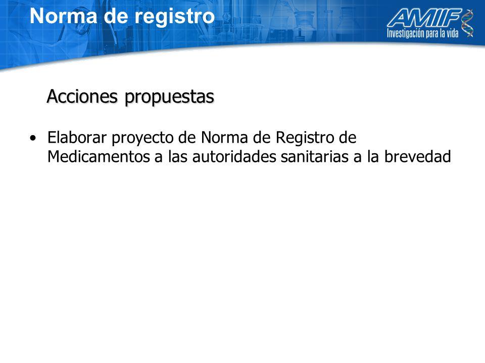 Elaborar proyecto de Norma de Registro de Medicamentos a las autoridades sanitarias a la brevedad Acciones propuestas Norma de registro
