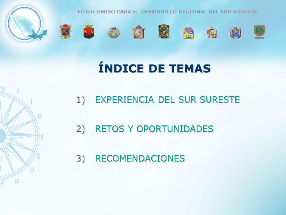 ÍNDICE DE TEMAS 1)EXPERIENCIA DEL SUR SURESTE 2)RETOS Y OPORTUNIDADES 3)RECOMENDACIONES FIDEICOMISO PARA EL DESARROLLO REGIONAL DEL SUR SURESTE