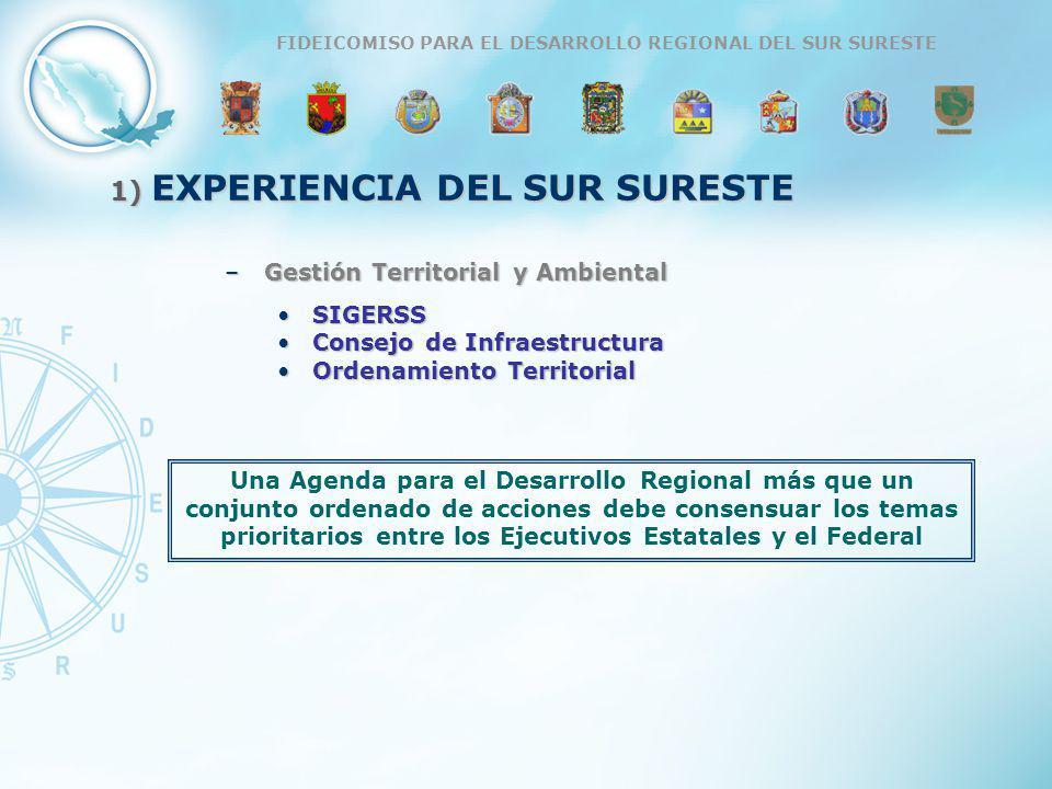 ESTRATEGIA DE COMPETITIVIDAD PARA LA REGIÓN SUR SURESTE DE MÉXICO, FIDESUR 1) EXPERIENCIA DEL SUR SURESTE –Gestión Territorial y Ambiental SIGERSSSIGE