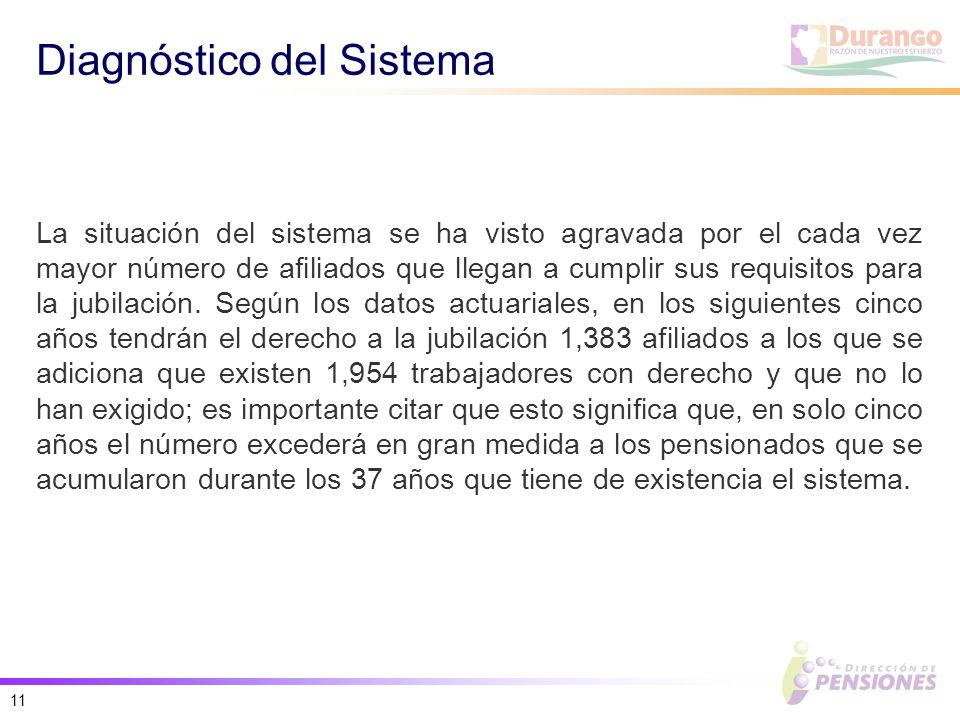 11 Diagnóstico del Sistema La situación del sistema se ha visto agravada por el cada vez mayor número de afiliados que llegan a cumplir sus requisitos para la jubilación.