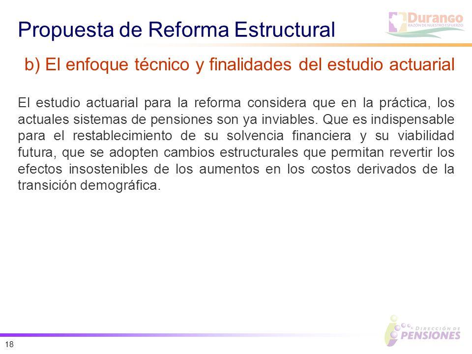 18 Propuesta de Reforma Estructural El estudio actuarial para la reforma considera que en la práctica, los actuales sistemas de pensiones son ya inviables.