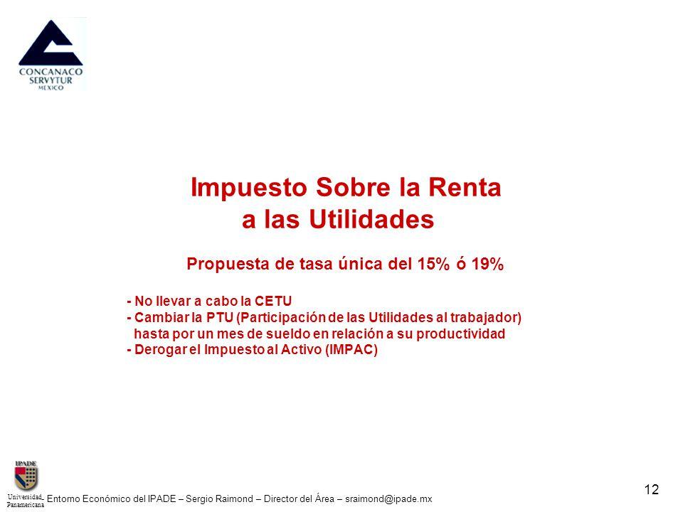 UniversidadPanamericana - Entorno Económico del IPADE – Sergio Raimond – Director del Área – sraimond@ipade.mx 12 Impuesto Sobre la Renta a las Utilid