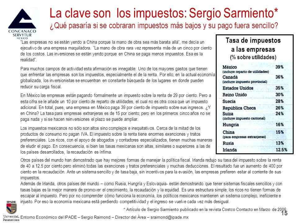 UniversidadPanamericana - Entorno Económico del IPADE – Sergio Raimond – Director del Área – sraimond@ipade.mx 15 * Artículo de Sergio Sarmiento publi