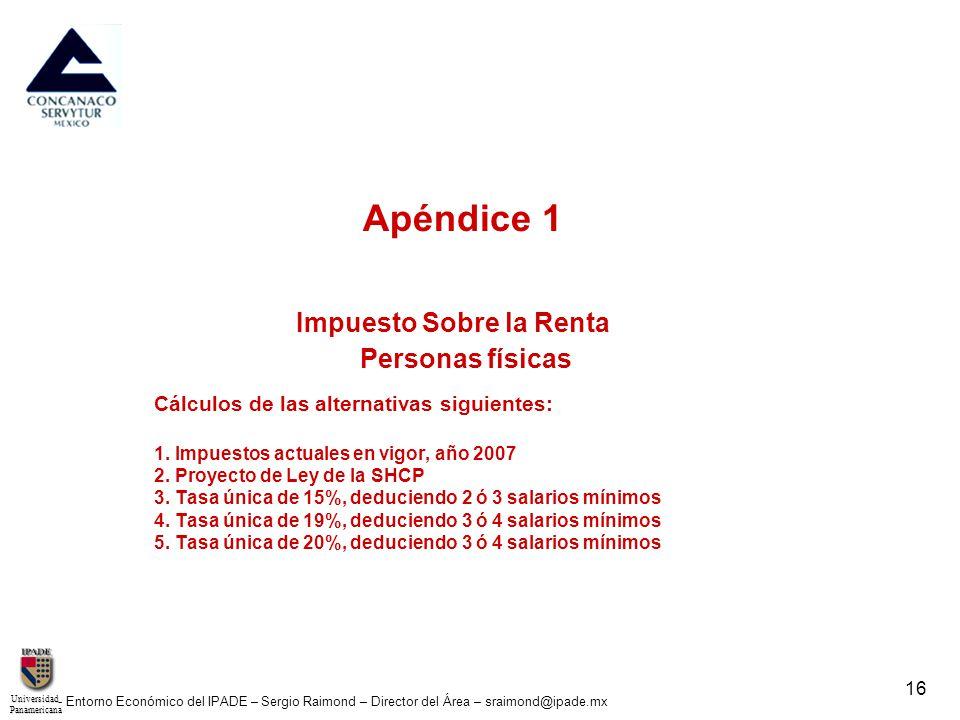UniversidadPanamericana - Entorno Económico del IPADE – Sergio Raimond – Director del Área – sraimond@ipade.mx 16 Apéndice 1 Impuesto Sobre la Renta P