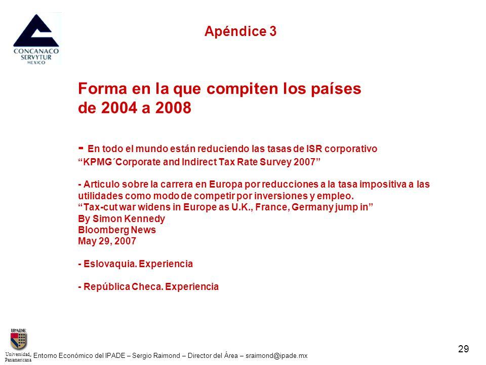 UniversidadPanamericana - Entorno Económico del IPADE – Sergio Raimond – Director del Área – sraimond@ipade.mx 29 Apéndice 3 Forma en la que compiten