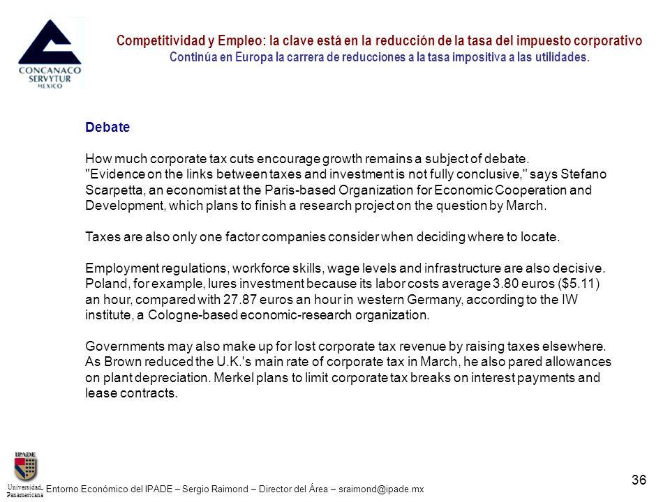 UniversidadPanamericana - Entorno Económico del IPADE – Sergio Raimond – Director del Área – sraimond@ipade.mx 37 Competitividad y Empleo: la clave está en la reducción de la tasa del impuesto corporativo Continúa en Europa la carrera de reducciones a la tasa impositiva a las utilidades.