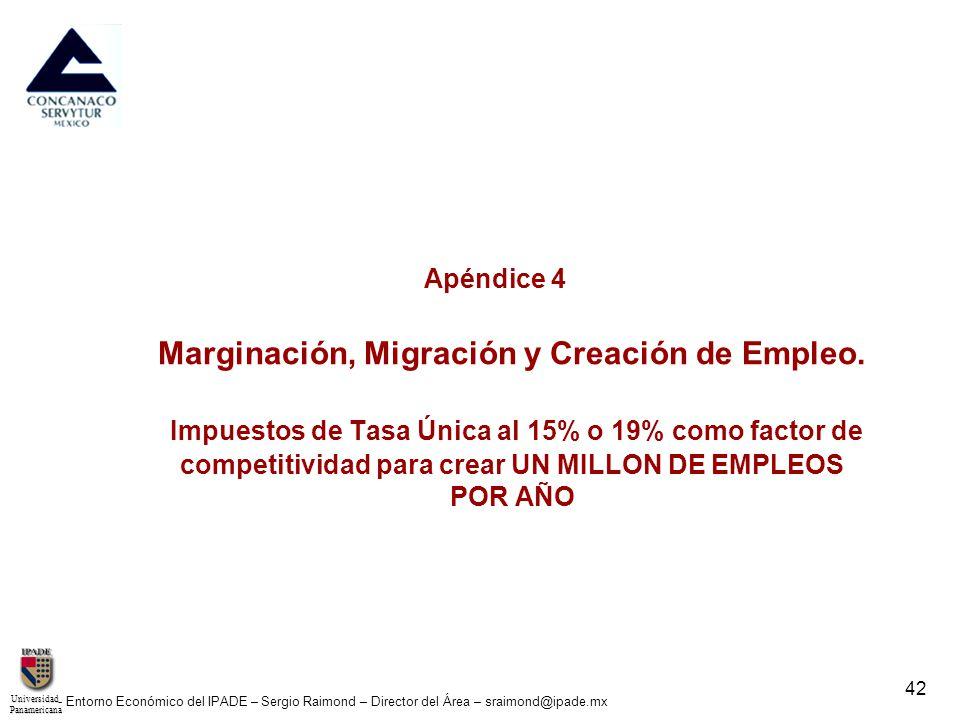 UniversidadPanamericana - Entorno Económico del IPADE – Sergio Raimond – Director del Área – sraimond@ipade.mx 42 Apéndice 4 Marginación, Migración y