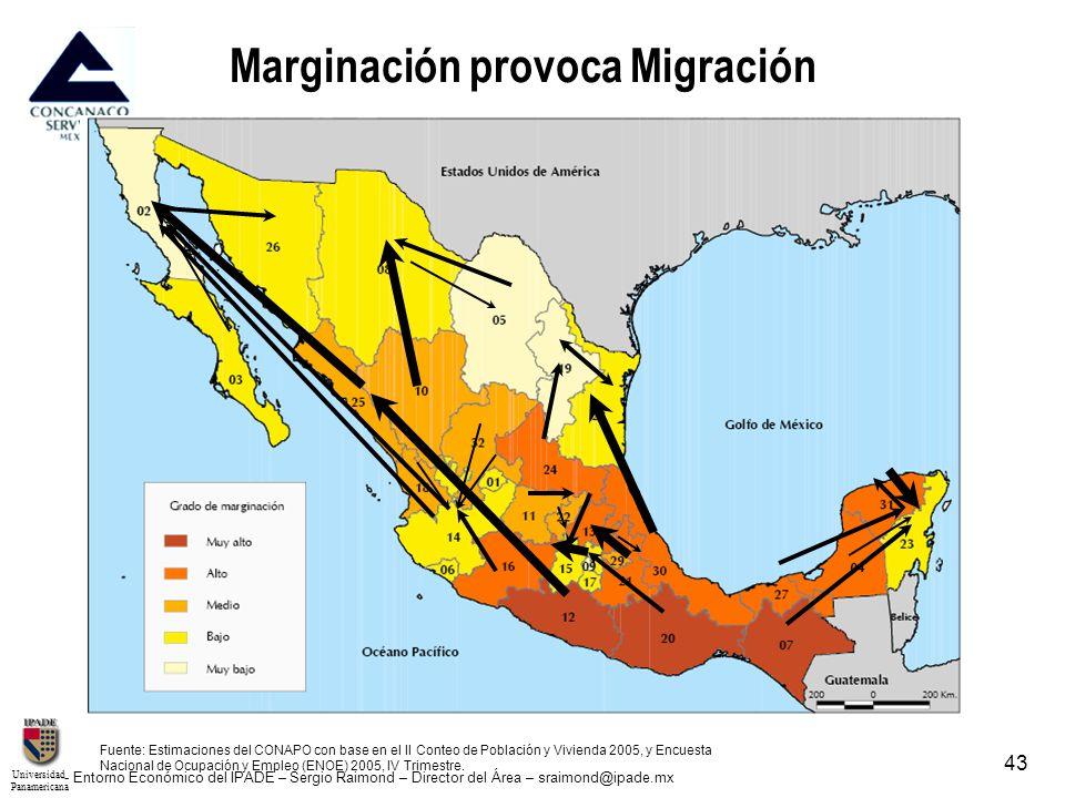 UniversidadPanamericana - Entorno Económico del IPADE – Sergio Raimond – Director del Área – sraimond@ipade.mx 43 Marginación provoca Migración Fuente