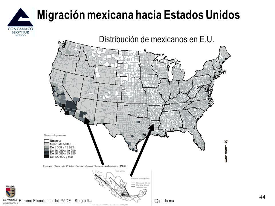 UniversidadPanamericana - Entorno Económico del IPADE – Sergio Raimond – Director del Área – sraimond@ipade.mx 44 Migración mexicana hacia Estados Uni