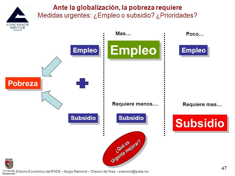UniversidadPanamericana - Entorno Económico del IPADE – Sergio Raimond – Director del Área – sraimond@ipade.mx 47 Ante la globalización, la pobreza re