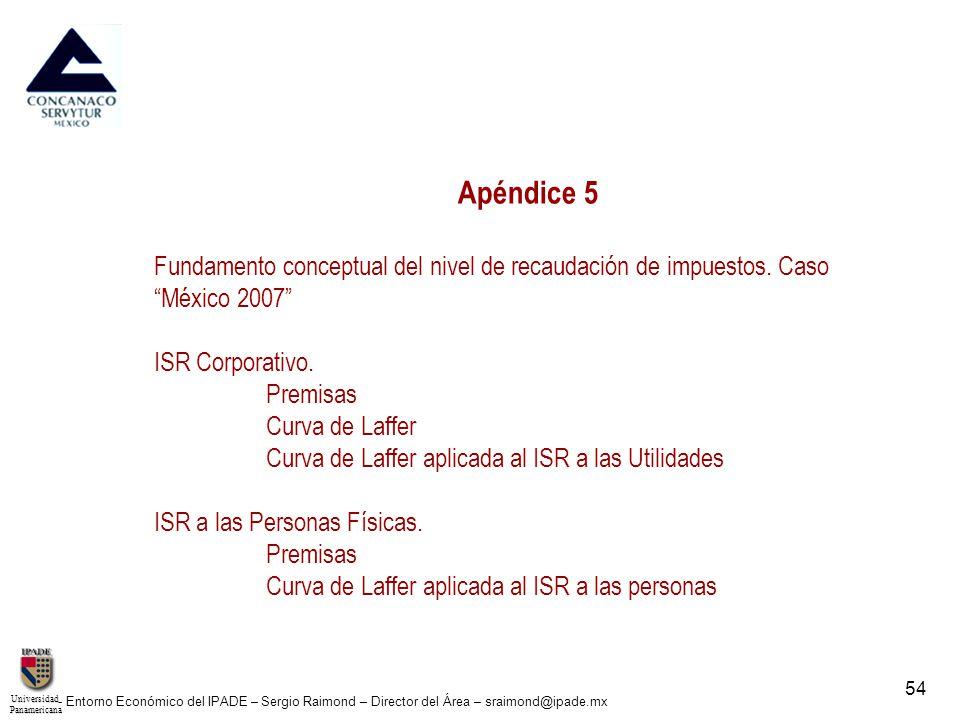 UniversidadPanamericana - Entorno Económico del IPADE – Sergio Raimond – Director del Área – sraimond@ipade.mx 55 Fundamento Conceptual del nivel de recaudación de Impuestos.