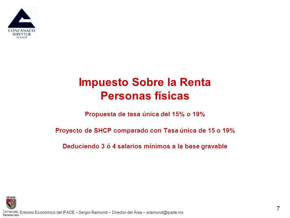 UniversidadPanamericana - Entorno Económico del IPADE – Sergio Raimond – Director del Área – sraimond@ipade.mx 8 Propuesta de simplificación al Impuesto Sobre la Renta Personas físicas Tasa única del 15% o 19% 1.
