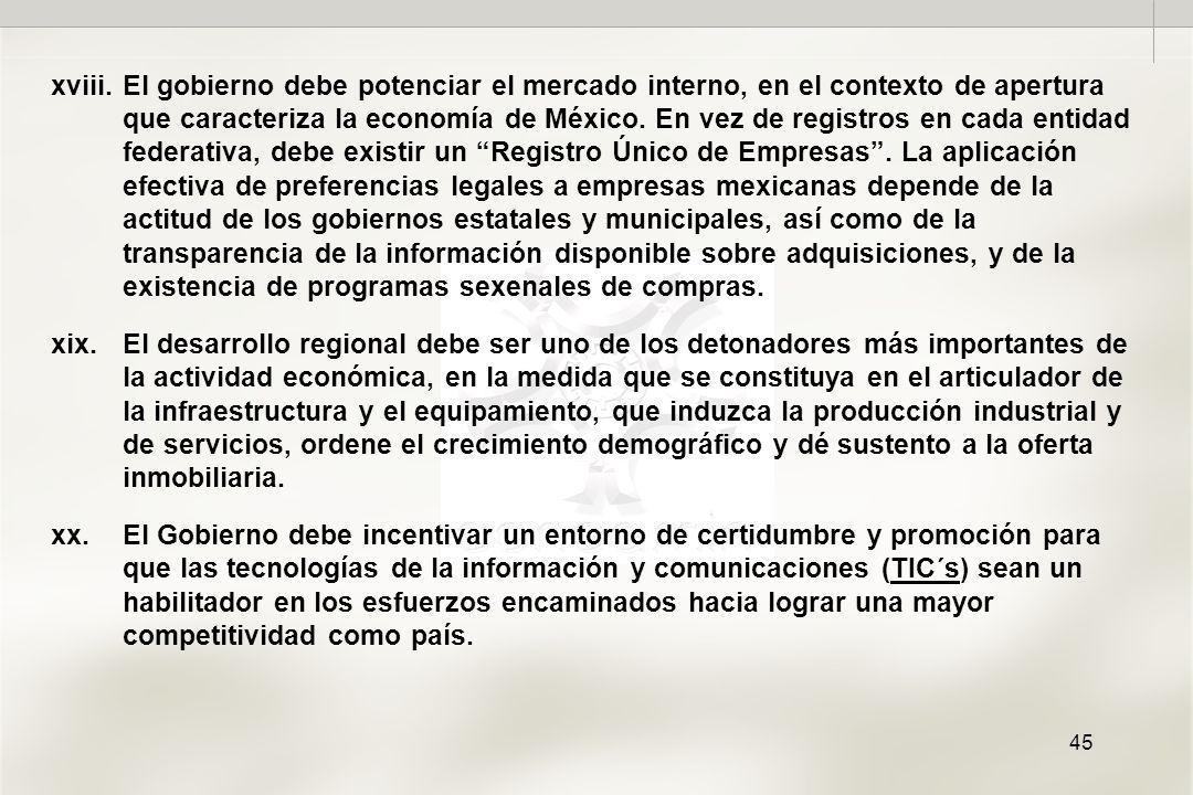 45 xviii.El gobierno debe potenciar el mercado interno, en el contexto de apertura que caracteriza la economía de México.