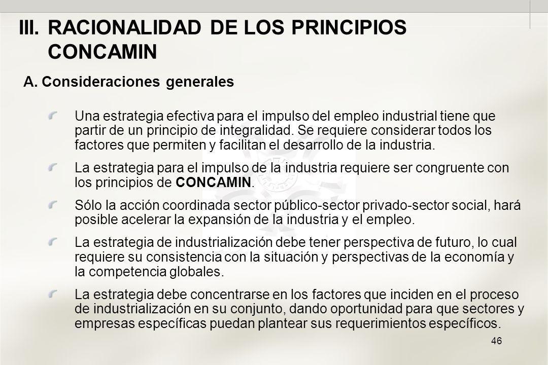 46 A.Consideraciones generales Una estrategia efectiva para el impulso del empleo industrial tiene que partir de un principio de integralidad.