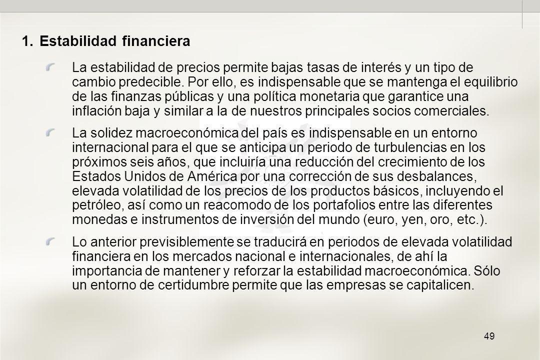 49 1.Estabilidad financiera La estabilidad de precios permite bajas tasas de interés y un tipo de cambio predecible.