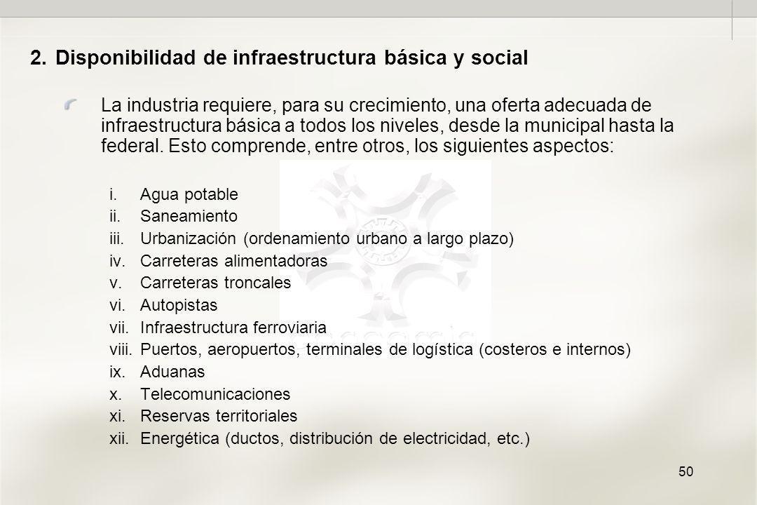 50 2.Disponibilidad de infraestructura básica y social La industria requiere, para su crecimiento, una oferta adecuada de infraestructura básica a todos los niveles, desde la municipal hasta la federal.