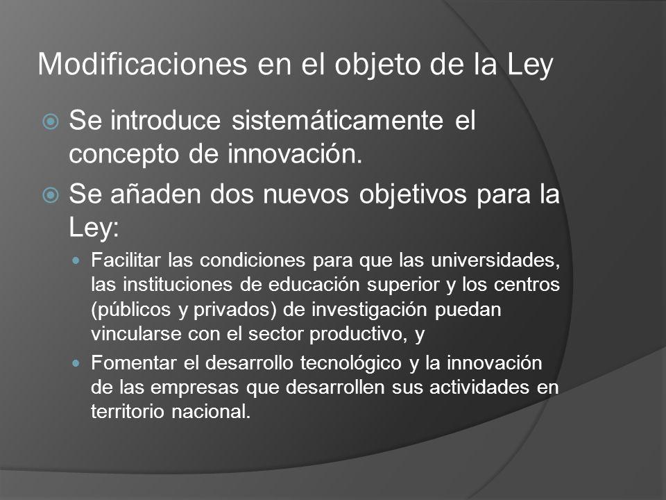 Modificaciones en el objeto de la Ley Se introduce sistemáticamente el concepto de innovación.