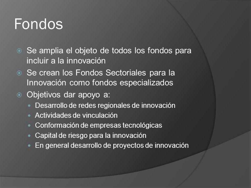 Fondos Se amplia el objeto de todos los fondos para incluir a la innovación Se crean los Fondos Sectoriales para la Innovación como fondos especializados Objetivos dar apoyo a: Desarrollo de redes regionales de innovación Actividades de vinculación Conformación de empresas tecnológicas Capital de riesgo para la innovación En general desarrollo de proyectos de innovación