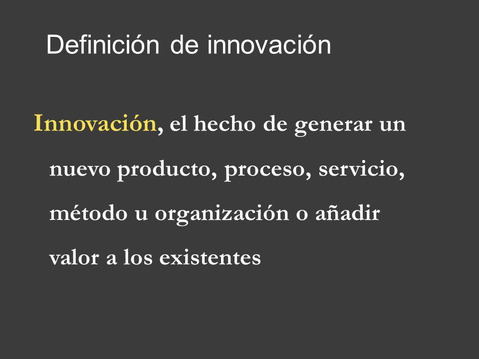 Definición de innovación Innovación, el hecho de generar un nuevo producto, proceso, servicio, método u organización o añadir valor a los existentes