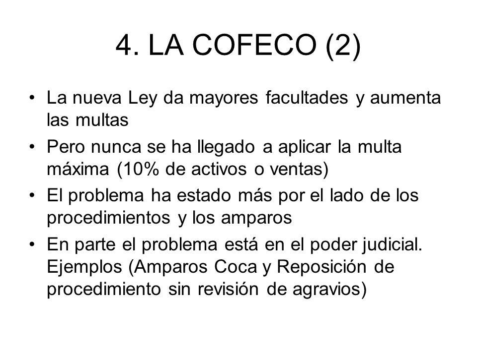 4. LA COFECO (2) La nueva Ley da mayores facultades y aumenta las multas Pero nunca se ha llegado a aplicar la multa máxima (10% de activos o ventas)