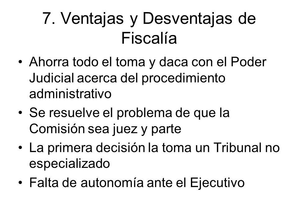 7. Ventajas y Desventajas de Fiscalía Ahorra todo el toma y daca con el Poder Judicial acerca del procedimiento administrativo Se resuelve el problema