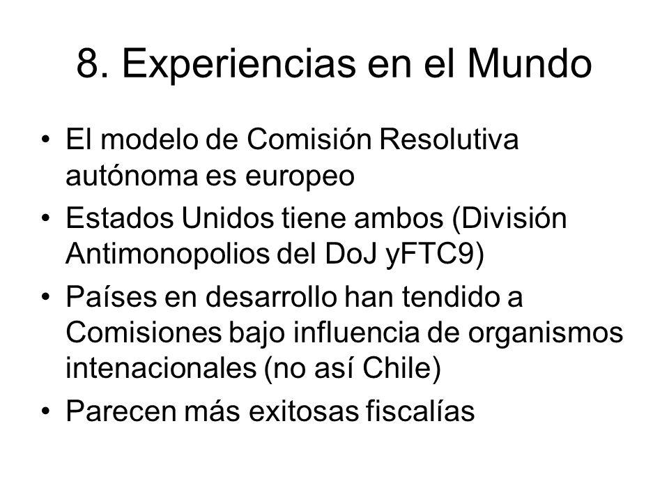 8. Experiencias en el Mundo El modelo de Comisión Resolutiva autónoma es europeo Estados Unidos tiene ambos (División Antimonopolios del DoJ yFTC9) Pa