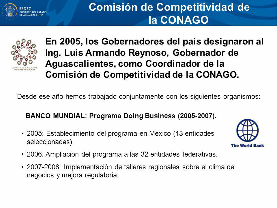 En 2005, los Gobernadores del país designaron al Ing. Luis Armando Reynoso, Gobernador de Aguascalientes, como Coordinador de la Comisión de Competiti