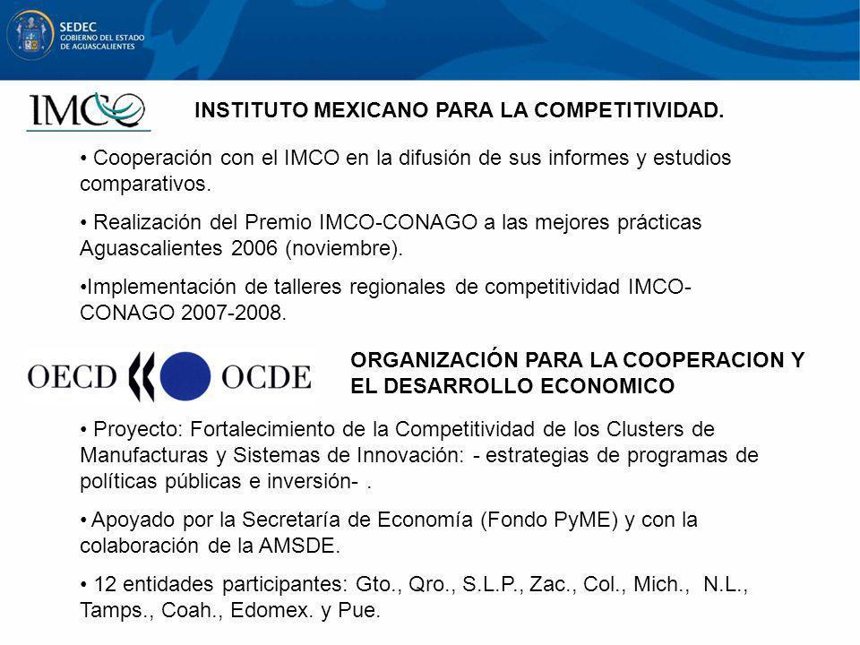 INSTITUTO MEXICANO PARA LA COMPETITIVIDAD. Cooperación con el IMCO en la difusión de sus informes y estudios comparativos. Realización del Premio IMCO