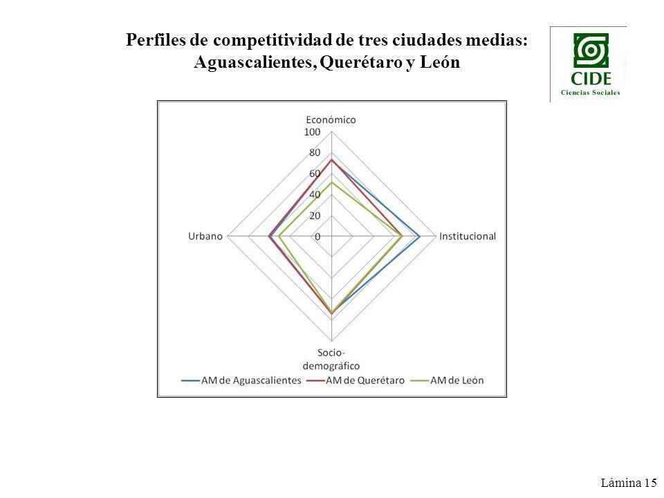 Perfiles de competitividad de tres ciudades medias: Aguascalientes, Querétaro y León Lámina 15