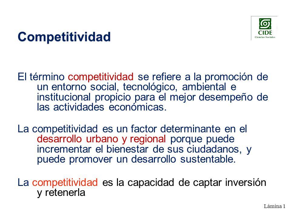 Lámina 1 Competitividad El término competitividad se refiere a la promoción de un entorno social, tecnológico, ambiental e institucional propicio para el mejor desempeño de las actividades económicas.