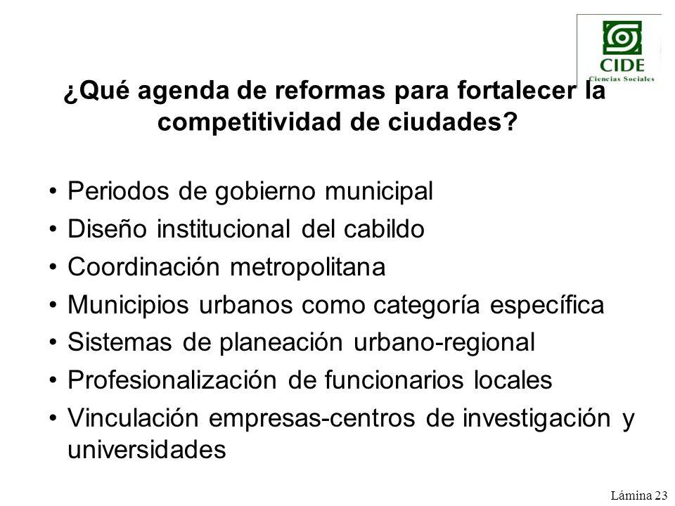 Periodos de gobierno municipal Diseño institucional del cabildo Coordinación metropolitana Municipios urbanos como categoría específica Sistemas de pl