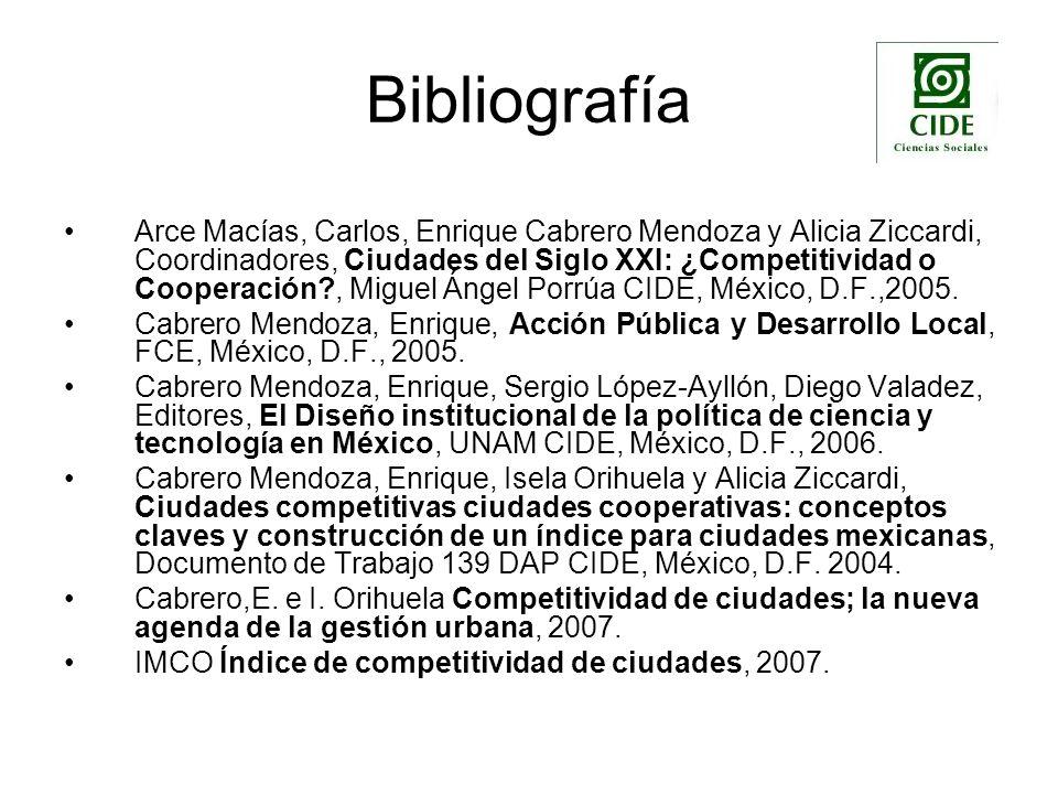 Bibliografía Arce Macías, Carlos, Enrique Cabrero Mendoza y Alicia Ziccardi, Coordinadores, Ciudades del Siglo XXI: ¿Competitividad o Cooperación?, Mi