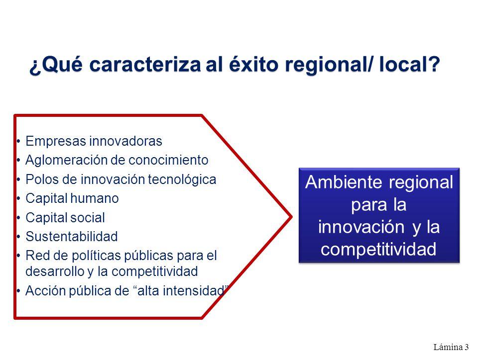 ¿Qué caracteriza al éxito regional/ local? Empresas innovadoras Aglomeración de conocimiento Polos de innovación tecnológica Capital humano Capital so