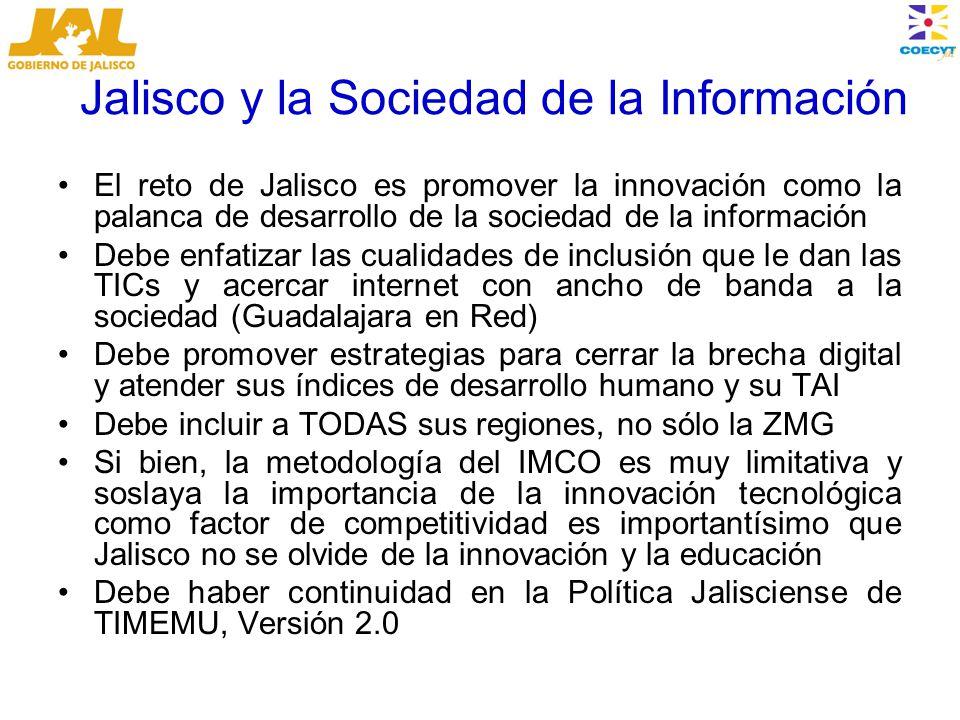 Jalisco y la Sociedad de la Información El reto de Jalisco es promover la innovación como la palanca de desarrollo de la sociedad de la información Debe enfatizar las cualidades de inclusión que le dan las TICs y acercar internet con ancho de banda a la sociedad (Guadalajara en Red) Debe promover estrategias para cerrar la brecha digital y atender sus índices de desarrollo humano y su TAI Debe incluir a TODAS sus regiones, no sólo la ZMG Si bien, la metodología del IMCO es muy limitativa y soslaya la importancia de la innovación tecnológica como factor de competitividad es importantísimo que Jalisco no se olvide de la innovación y la educación Debe haber continuidad en la Política Jalisciense de TIMEMU, Versión 2.0
