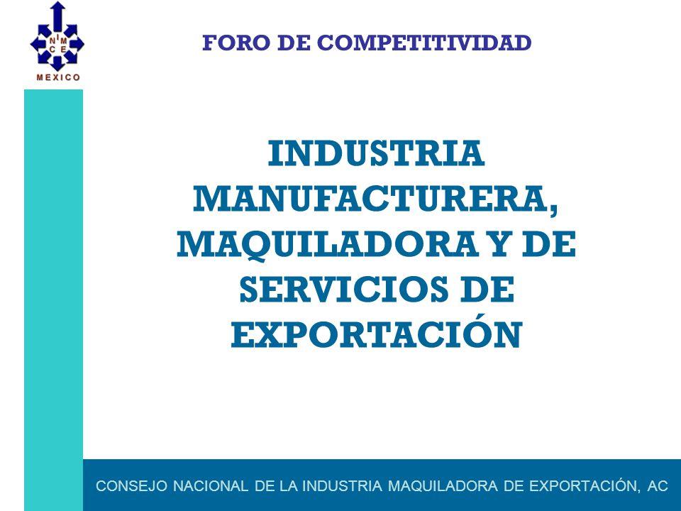 CONSEJO NACIONAL DE LA INDUSTRIA MAQUILADORA DE EXPORTACIÓN, AC FORO DE COMPETITIVIDAD INDUSTRIA MANUFACTURERA, MAQUILADORA Y DE SERVICIOS DE EXPORTAC