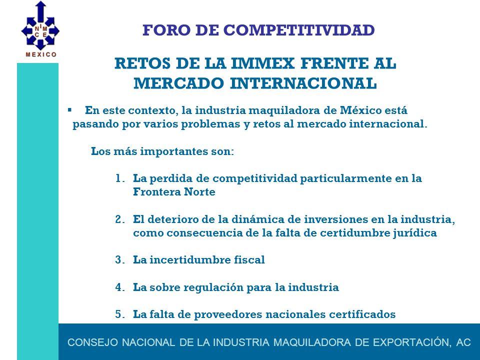 CONSEJO NACIONAL DE LA INDUSTRIA MAQUILADORA DE EXPORTACIÓN, AC FORO DE COMPETITIVIDAD RETOS DE LA IMMEX FRENTE AL MERCADO INTERNACIONAL En este conte