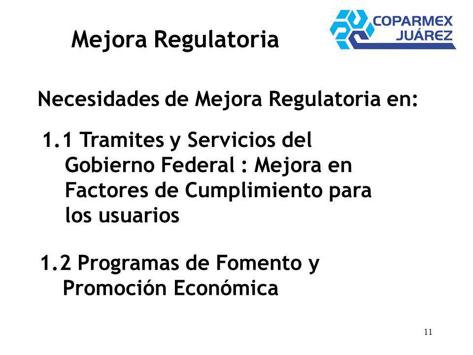 11 Mejora Regulatoria Necesidades de Mejora Regulatoria en: 1.1 Tramites y Servicios del Gobierno Federal : Mejora en Factores de Cumplimiento para los usuarios 1.2 Programas de Fomento y Promoción Económica