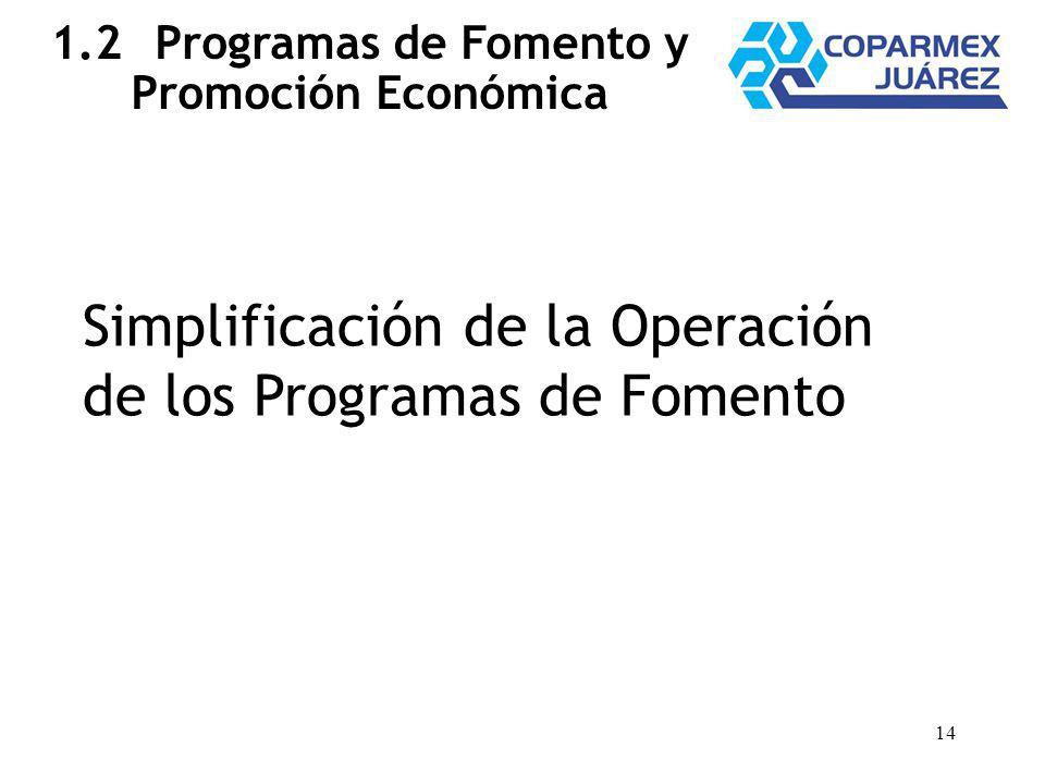 14 1.2Programas de Fomento y Promoción Económica Simplificación de la Operación de los Programas de Fomento