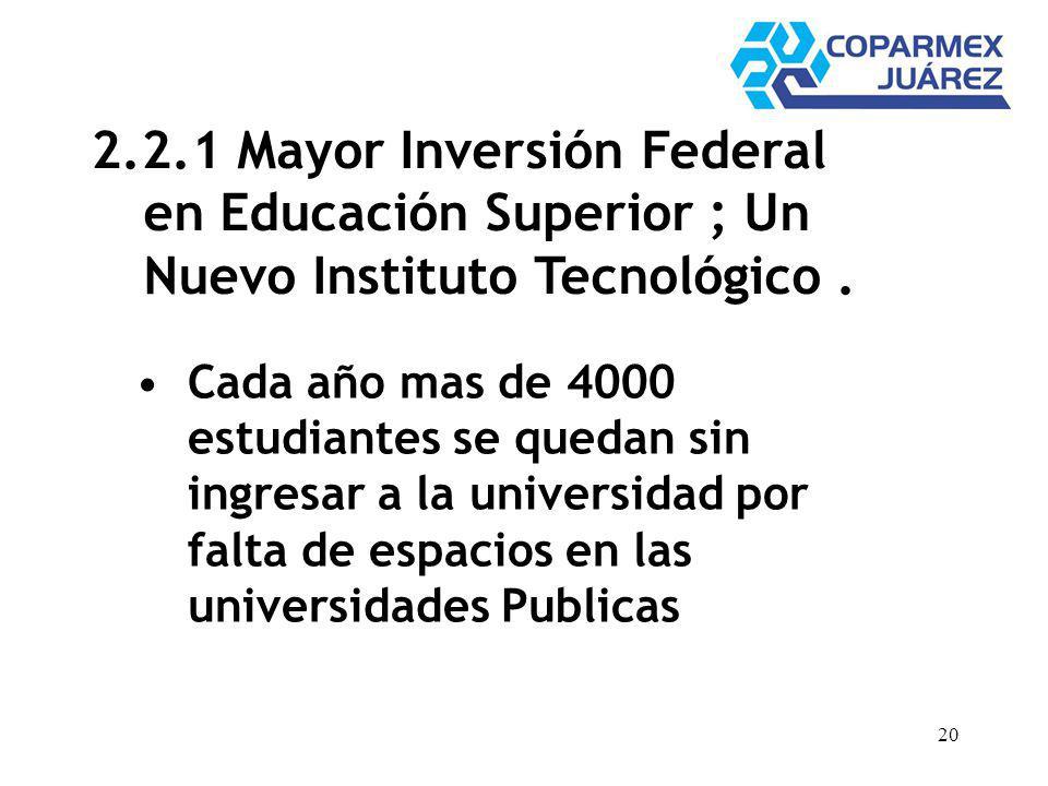 20 2.2.1 Mayor Inversión Federal en Educación Superior ; Un Nuevo Instituto Tecnológico. Cada año mas de 4000 estudiantes se quedan sin ingresar a la