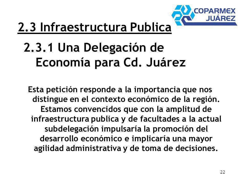 22 2.3 Infraestructura Publica Esta petición responde a la importancia que nos distingue en el contexto económico de la región. Estamos convencidos qu