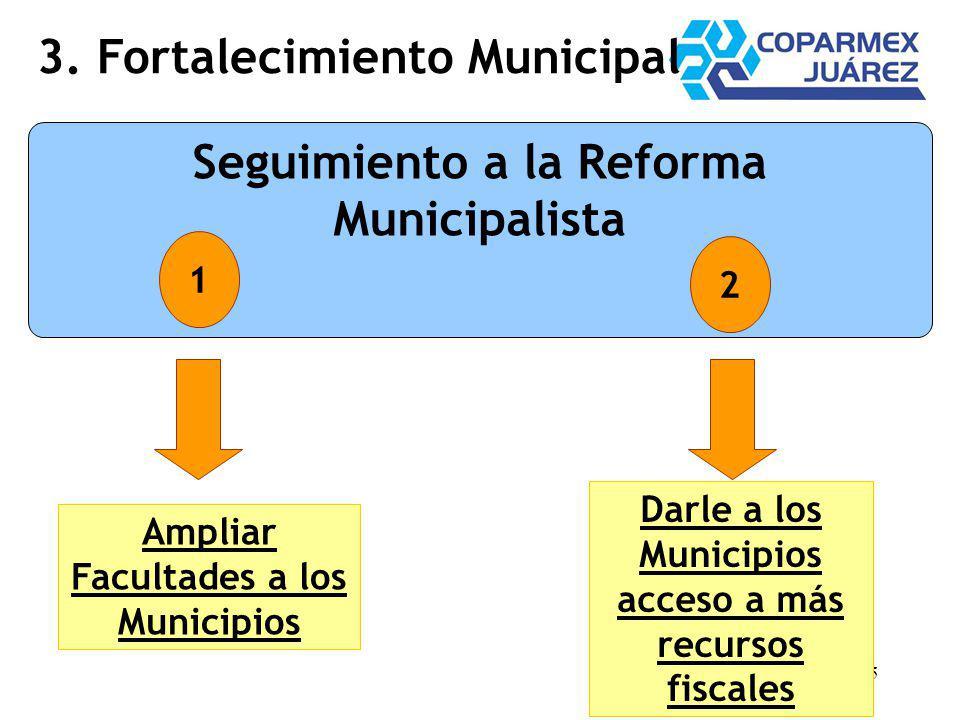 25 3. Fortalecimiento Municipal Seguimiento a la Reforma Municipalista 1 2 Ampliar Facultades a los Municipios Darle a los Municipios acceso a más rec