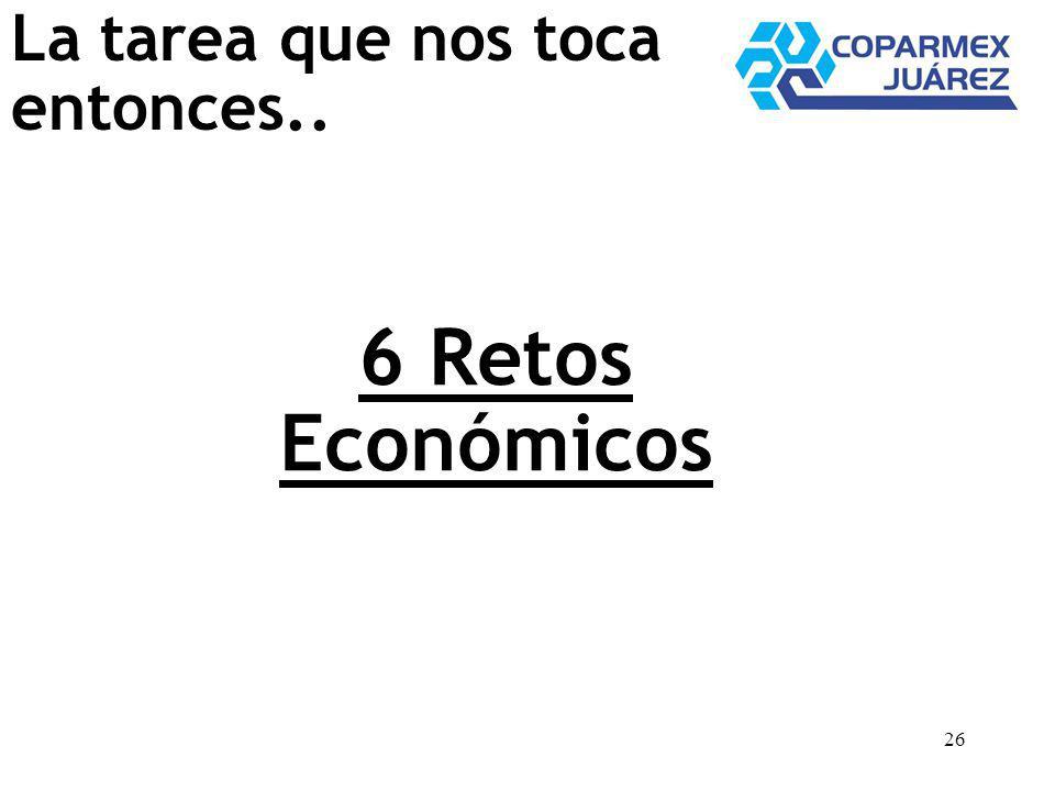 26 6 Retos Económicos La tarea que nos toca entonces..