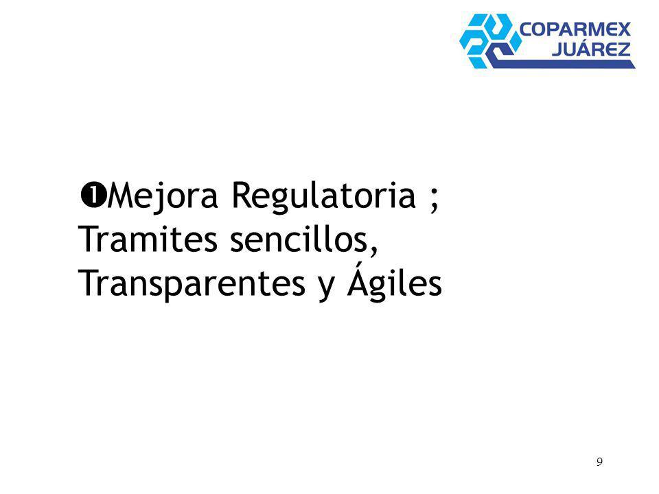 9 Mejora Regulatoria ; Tramites sencillos, Transparentes y Ágiles