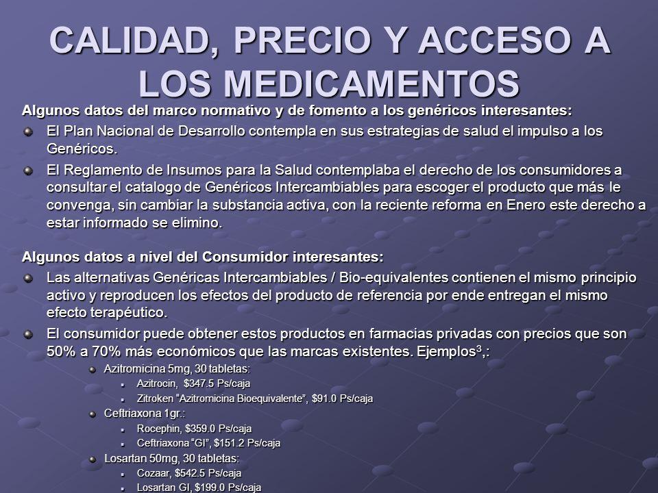 CALIDAD, PRECIO Y ACCESO A LOS MEDICAMENTOS Algunos datos del marco normativo y de fomento a los genéricos interesantes: El Plan Nacional de Desarroll