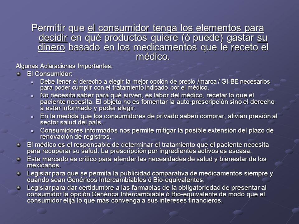 Permitir que el consumidor tenga los elementos para decidir en qué productos quiere (ó puede) gastar su dinero basado en los medicamentos que le recet