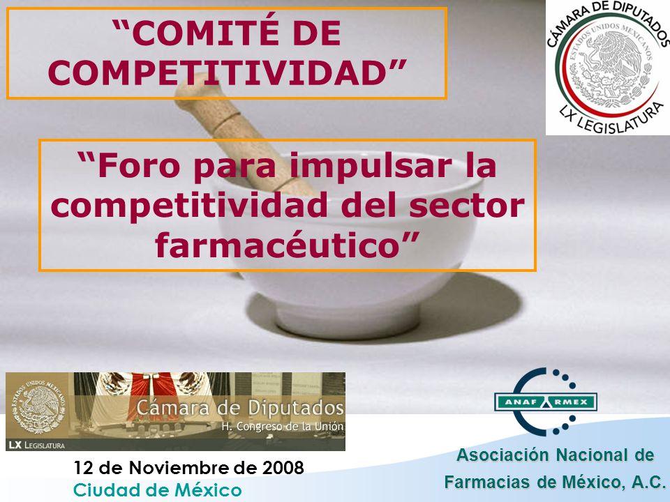 Asociación Nacional de Farmacias de México, A.C. 12 de Noviembre de 2008 Ciudad de México COMITÉ DE COMPETITIVIDAD Foro para impulsar la competitivida