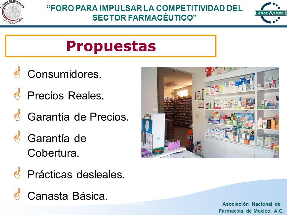 Asociación Nacional de Farmacias de México, A.C. Propuestas Consumidores. Precios Reales. Garantía de Precios. Garantía de Cobertura. Prácticas deslea
