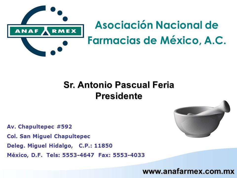 Asociación Nacional de Farmacias de México, A.C. www.anafarmex.com.mx Av. Chapultepec #592 Col. San Miguel Chapultepec Deleg. Miguel Hidalgo, C.P.: 11